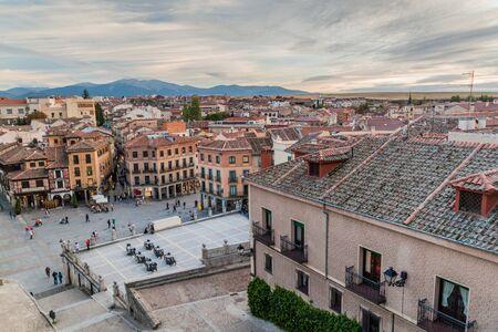 SEGOVIA, SPAIN - OCTOBER 20, 2017: Skyline of the old town in Segovia, Spain