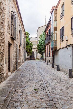Narrow street in the old town of Avila, Spain.