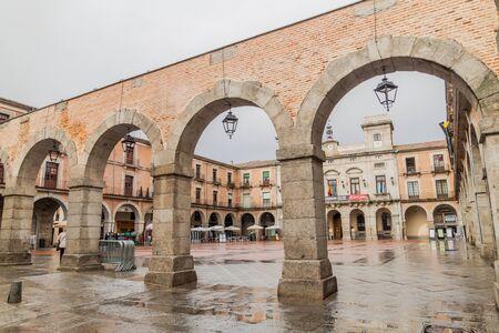 AVILA, SPAIN - OCTOBER 19, 2017: Plaza Mercado Chico (Plaza Mayor) square in Avila.