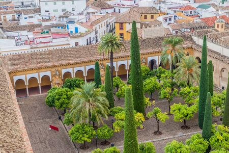 Aerial view of Cordoba with the courtyard of Mosque-Cathedral called Patio de los Naranjos, Spain Archivio Fotografico
