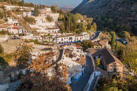 Houses on Sacramonte hill in Granada, Spain Stock Photo