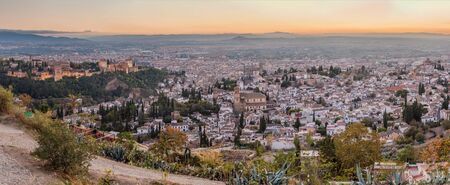 Panorama of Granada during the sunset, Spain