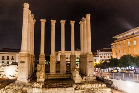 Evening view of the remaining columns of the Roman temple of Cordoba, Spain Stock Photo