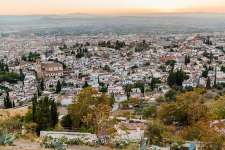 Aerial view of Granada during the sunset, Spain