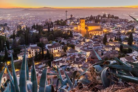 Aerial view of Granada with Salvador church during the sunset, Spain. Stock Photo