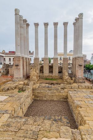 Remaining columns of the Roman temple of Cordoba, Spain Stock Photo