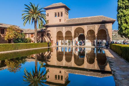 GRANADA, SPAIN - NOVEMBER 2, 2017: Partal palace at Alhambra in Granada, Spain