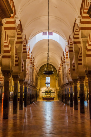 Interior of Mosque–Cathedral (Mezquita-Catedral) of Cordoba, Spain