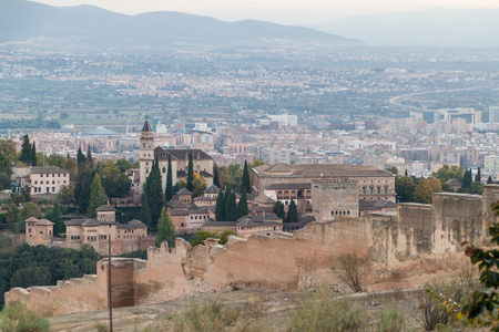 Late afternoon view of Alhambra in Granada, Spain Editorial