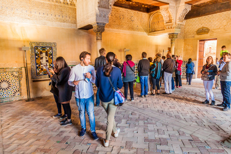 GRANADA, SPAIN - NOVEMBER 2, 2017: Mexuar Hall at Nasrid Palaces (Palacios Nazaries) at Alhambra in Granada, Spain