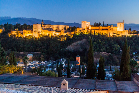 View of Alhambra palace from Mirador San Nicolas viewpoint in Granada, Spain Editorial