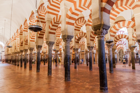 CORDOBA, SPAIN - NOVEMBER 4, 2017: Interior of Mosque–Cathedral (Mezquita-Catedral) of Cordoba, Spain Editorial