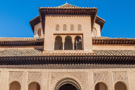 Building of Nasrid Palaces (Palacios Nazaries) at Alhambra in Granada, Spain