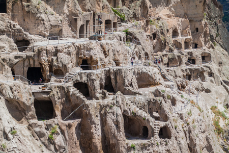 VARDZIA, GEORGIA - JULY 14, 2017: Cave monastery Vardzia carved into a cliff, Georgia