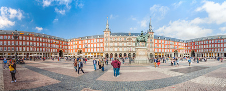 MADRID, SPAIN - OCTOBER 21, 2017: View of Plaza Mayor square in Madrid.
