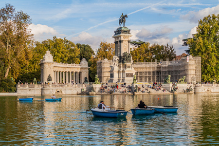 MADRID, SPAIN - OCTOBER 22, 2017: Alfonso XII monument in Retiro park in Madrid.