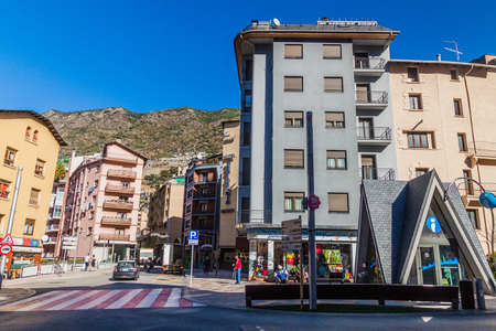 ESCALDES-ENGORDANY, ANDORRA - OCTOBER 28, 2017: Buildings and streets of Escaldes-Engordany town
