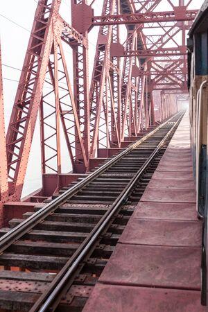 Hardinge Bridge, steel railway bridge over the river Padma in western Bangladesh. Stock Photo