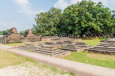Tombs at the grounds of Choto Shona Mosque (Small Golden Mosque) in Bangladesh