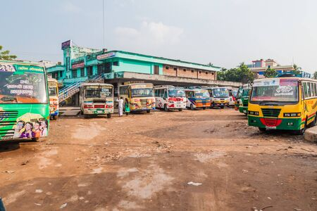RAJSHAHI, BANGLADESH - NOVEMBER 10, 2016: Main bus stand in Rajshahi, Bangladesh
