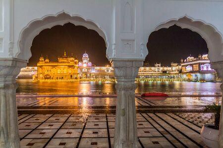 Night view of the Golden Temple (Harmandir Sahib) in  Amritsar, Punjab state, India