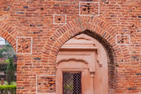 Bullet holes at the Jallianwala Bagh massacre site in Amritsar, Punjab state, India