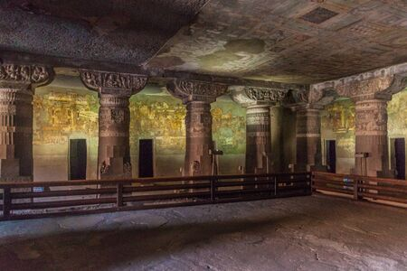 Interior of a Buddhist cave carved into a cliff in Ajanta, Maharasthra state, India