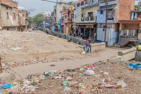 LUCKNOW, INDIA - FEBRUARY 3, 2017: Rubbish on a street in Lucknow, Uttar Pradesh state, India