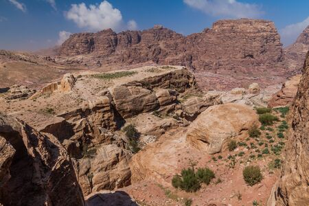 Rocks in the ancient city Petra, Jordan 스톡 콘텐츠