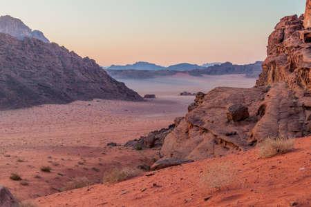 Rocky landscape of Wadi Rum desert, Jordan Stock fotó