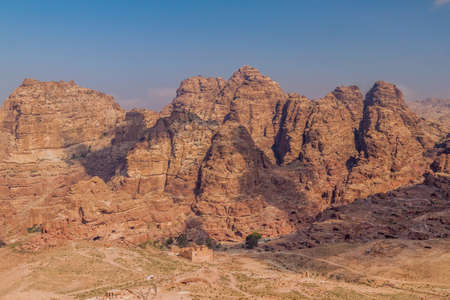 Rocky mountains in the ancient city Petra, Jordan