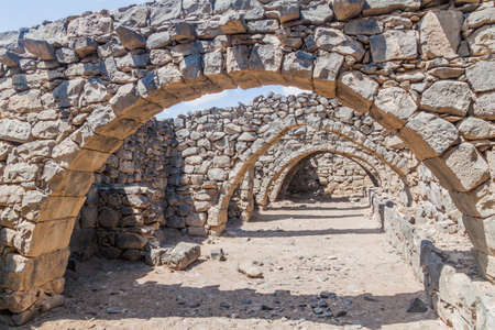 Ruins of vaults at Qasr al-Azraq (Blue Fortress), fort located in the desert of eastern Jordan.