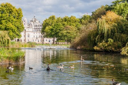 St. James's Park Lake with Horse Guard Parade building in background, London, United Kingdom