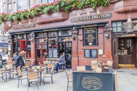LONDON, UNITED KINGDOM - OCTOBER 4, 2017: Traditional pub The Wellington in London. Stok Fotoğraf
