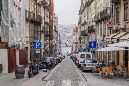 PORTO, PORTUGAL - OCTOBER 17, 2017: Steep street in Porto, Portugal