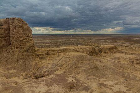 Ruins of Ayaz Qala fortress in Kyzylkum desert, Uzbekistan