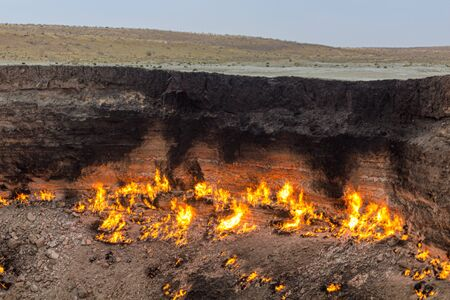 Darvaza (Derweze) gas crater (called also The Door to Hell) in Turkmenistan