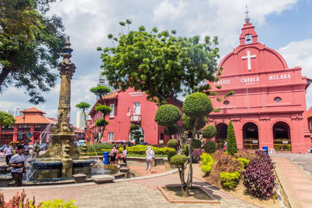 MALACCA, MALAYASIA - MARCH 19, 2018: Queen Victoria's Fountain and Christ church in Malacca (Melaka), Malaysia.