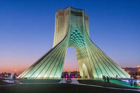 TEHRAN, IRAN - APRIL 2, 2018: Evening view of Azadi Tower (Freedom Tower) in Tehran, Iran