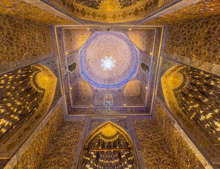SAMARKAND, UZBEKISTAN - APRIL 27, 2018: Cupola of Gur-e Amir Mausoleum in Samarkand, Uzbekistan