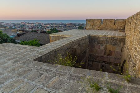 Skyline of Derbent in the Republic of Dagestan taken from the fortification walls, Russia Foto de archivo