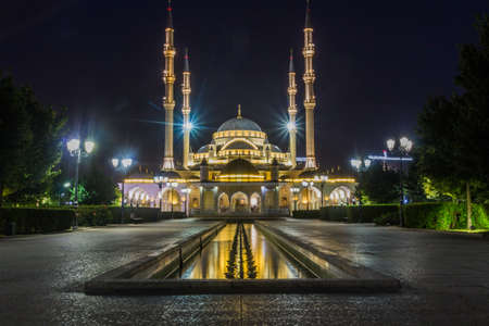 Evening view of Akhmad Kadyrov Mosque (officially known as The Heart of Chechnya) in Grozny, Russia