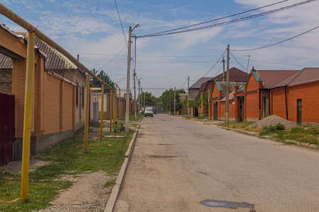 Street in suburbs of Grozny, Russia.