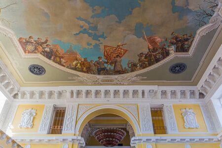 VOLGOGRAD, RUSSIA - JUNE 28, 2018: Ceiling decoration at Volgograd railway station, Russia Foto de archivo
