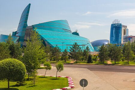 ASTANA, KAZAKHSTAN - JULY 9, 2018: Kazakhstan Central Concert Hall in Astana (now Nur-Sultan), capital of Kazakhstan.
