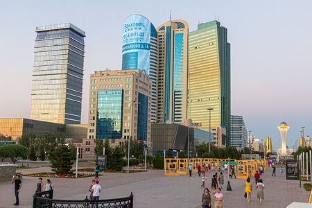 ASTANA, KAZAKHSTAN - JULY 8, 2018: Skyscrapers of Astana (now Nur-Sultan), capital of Kazakhstan
