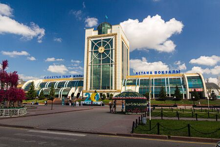 ASTANA, KAZAKHSTAN - JULY 8, 2018: View of the railway station Astana in Astana (now Nur-Sultan), capital of Kazakhstan
