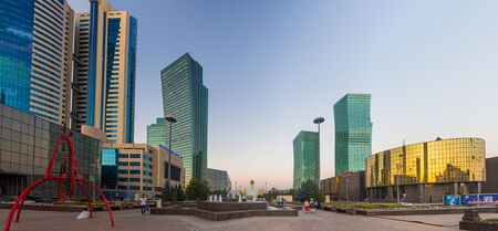 ASTANA, KAZAKHSTAN - JULY 8, 2018: Skyline of Astana (now Nur-Sultan), capital of Kazakhstan Banco de Imagens