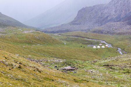 Hail storm in Terskey Alatau mountain range in Kyrgyzstan