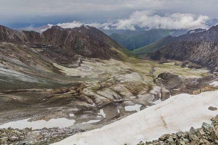 Snow near Ala Kul pass in Kyrgyzstan Banco de Imagens
